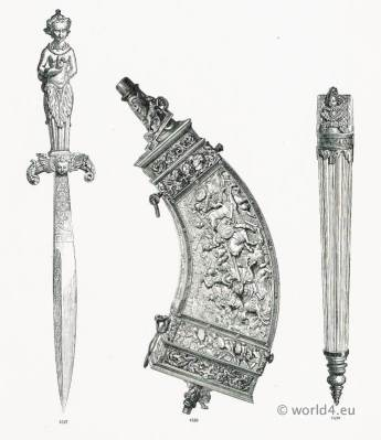 16th century Accessories firearms and offensive weapons. Antique dagger. Renaissance military.