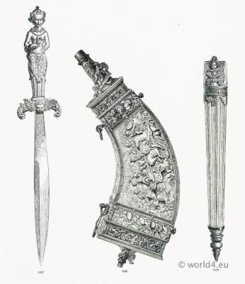 16th century Accessories firearms and offensive weapons. Renaissance military.