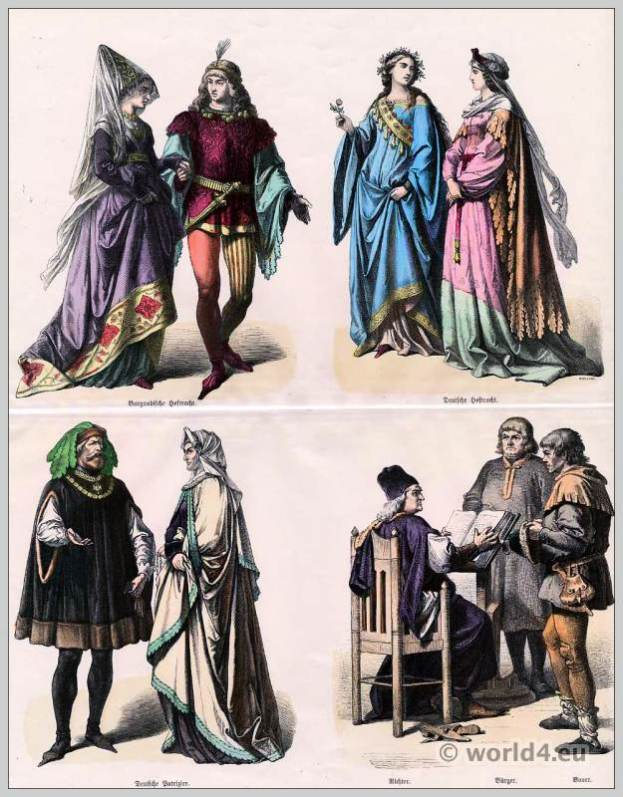 Burgundy and German fashion. 16th century costumes. Medieval clothing. Middle ages dresses.