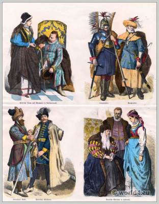 Polish and Russian fashion of the XVI. Century. 16th century costumes. Medieval clothing. Middle ages dresses.