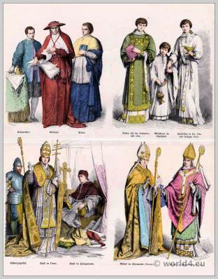 16th and 17th Century. Ecclesiastical robes. Swiss Guard. Pope in the robes. Deacon with the dalmatic and Alba. Altar boy in surplice.