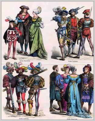 Renaissance fashion. German lansquenet costumes 16th century. German citizen dresses. Münchener Bilderbogen.