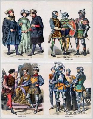 Burgundy fashion 15th Century. Dutch citizens costumes. Gothic clothing. Medieval dresses.