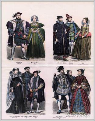 English Tudor fashion era. Henry VIII, Anne of Cleves. Earl of Angus. King Edward VI. Mary Stuart, Queen of Scotland.