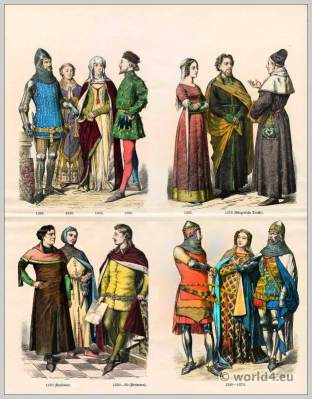 English medieval fashion in the 14th century. Gothic clothing. Middle ages dresses. Knights in armor