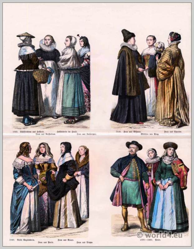 16th and 17th century costumes. Renaissance costumes. Medieval clothing. Middle ages dresses.