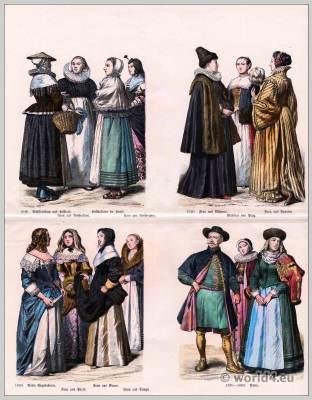 16th, 17th century costumes. Baroque, Renaissance fashion.