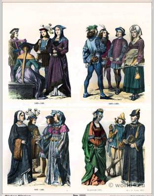 French burgundy costumes 15th Century. Renaissance fashion. Medieval clothing. Middle ages dresses.