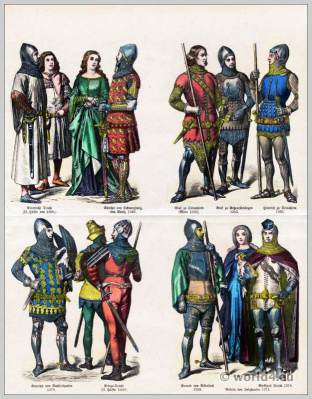 German Medieval costumes 14th Century.