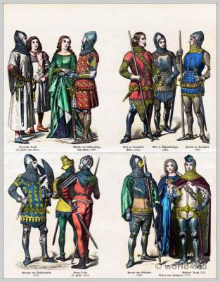 German knights 14th century. Burgundian costumes. Middle Ages clothing.