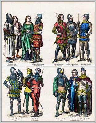 Medieval, costumes, 14th, century, Burgundy, fashion history