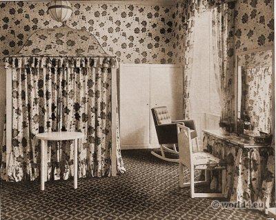 Sleeping and dressing room. Vienna Workshop. Josef Hoffmann. Austrian architect and designer. Vienna Secession.