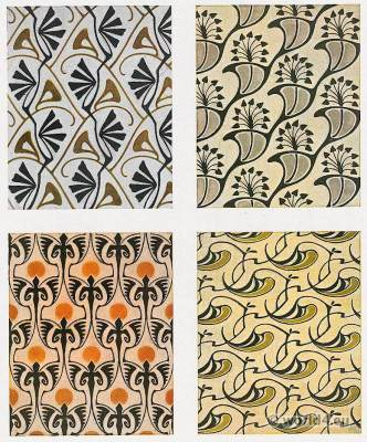Bernhard Wenig. Designs for modern cloth fabrics. Art Nouveau cloth pattern design.