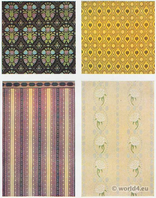 Designer Bruno Paul. Fabrics design. Hand-knotted carpets, furniture fabrics, wallpapers.