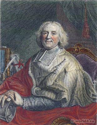 French Cardinal Fleury. André-Hercule de Fleury, Bishop of Fréjus. Baroque fashion. Louis XIV