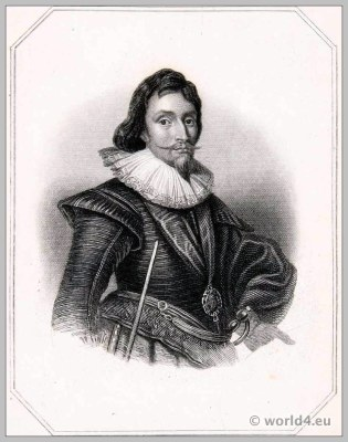James Marquis of Hamilton. England 17th century clothing. Baroque costume.