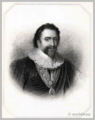 William Herbert, Earl of Pembroke 1630. England 17th century Tudor clothing. Baroque costume.