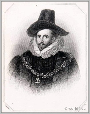 Henry Howard, Earl of Northampton. England 17th century clothing. Tudor costume. Headdress.