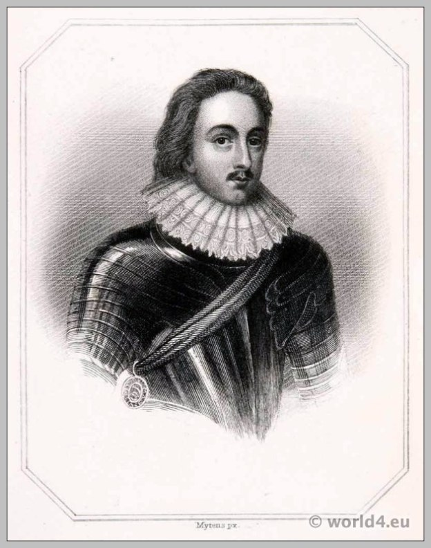 Henry Prince of Wales in Armor. England 17th century clothing. Baroque costume.