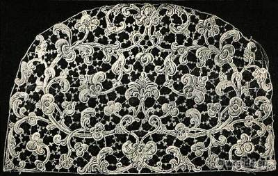 Stitched lace. Point de Venise, 17th Century. Baroque Period.