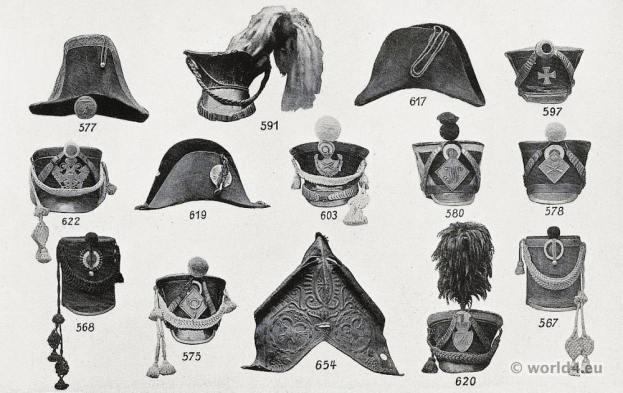Napoleonic wars. Shako French Hussars, French hunter on horseback, Austrian staff officer, Westphalian train horses, Pomeranian armed horsemen, Bavarian country defense, staff officer, Saxon officer, Saxon horse artillery, Infantry, horse collar.