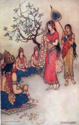 Damayanti choosing a husband. Indian myth and legend. Traditional Indian clothing. Indian epic Mahabharata