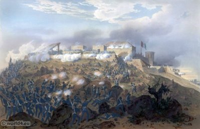 Storming of Chapultepec - Pillow's attack. Mexican-American War. George Wilkins Kendall. Carl Nebel. Military Soldier Uniforms.