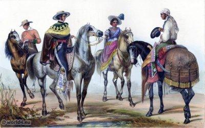 Traditional Mexican costume. Rancheros clothing. Original Gaucho dress. Carl Nebel. El Hacendero et son majordome
