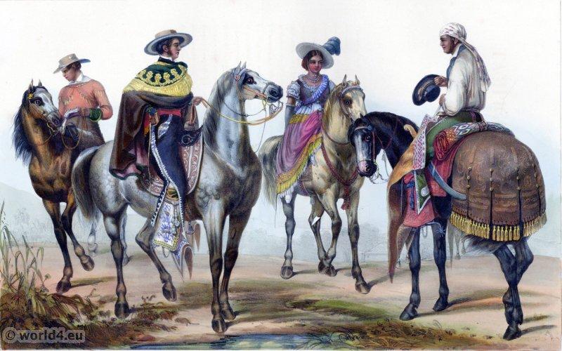 Traditional Mexican costume. Rancheros clothing. Carl Nebel. El Hacendero et son majordome