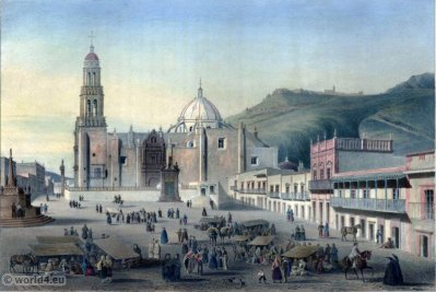 Zacatecas. Mexican town. Topography. Carl Nebel. UNESCO World Heritage Centre
