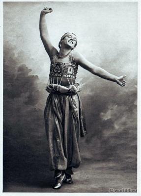 Vaslav Nijinsky in Scheherazade. Russian Ballet. Dance costume. Famous Opera