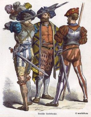 German Lansquenet Renaissance Military Costumes. 16th century clothing