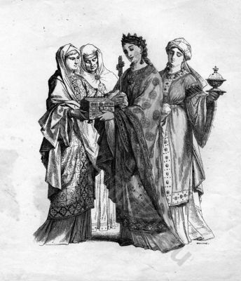 Frankish Queen 9th century clothing. Carolingian costumes. Medieval Noblewomen fashion dresses