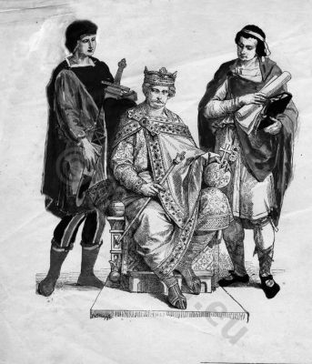 Frankish king, Charles II the Bald, 9th century clothing, Carolingian costumes, Charles II dit le Chauve, Middle ages fashion