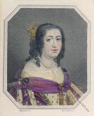 Anne d'Autriche. Queen of France. 17th century fashion