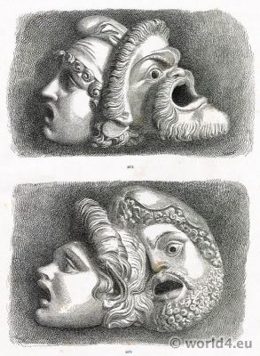 Greek theatrical masks. Art Greco. Tragic Masks, Carved. Greek theatrical performing masks.