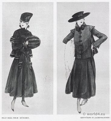 Designs. jacket dresses. Mrs. Irma Firle costumes, Munich 1917. German Modernist fashion.