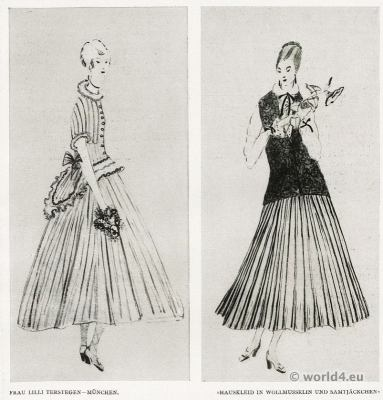 House dresses Munich fashion 1917. Costume Designer Lilli Terstegen fashion 1910s. German Modernist costumes.