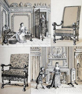 French baroque furniture. 17th century Interior Design. Louis XIV fashion.