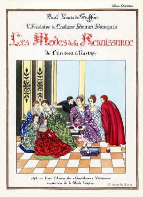 Renaissance costume history. 15th to 16th century fashion. court of love.