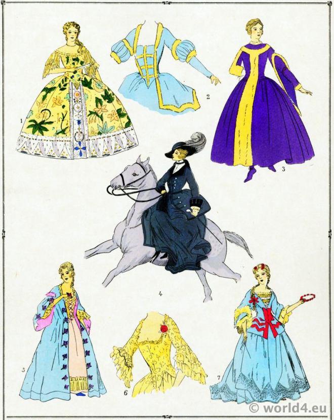 Gowns, Élégantes, Louis XV, Costumes, rococo, vêtements,