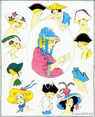 Louis XV hats fashion. Rococo costumes. 18th century clothing