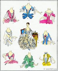 Bodices. Louis XV fashion. Rococo costumes. 18th century clothing