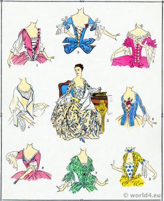 French Bodices. Louis XV. Rococo costumes. 18th century corsage