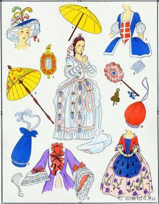 Parures. Louis XV fashion. Rococo costumes. 18th century clothing
