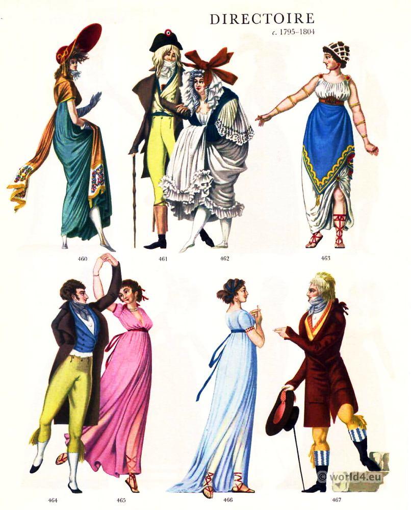 directoire costumes 1795 1804 costume history