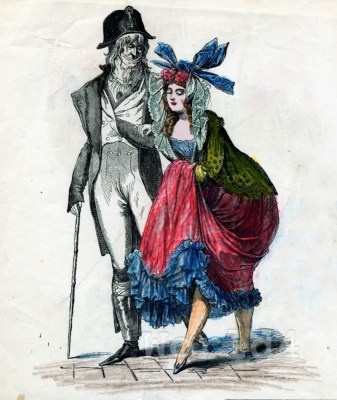 Incroyable and Merveilleuse costumes. French revolution dresses. Modes Parisiennes (1795) by Horace Vernet.