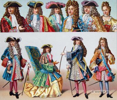 Versailles. Louis XIV fashion. Ancien Régime. Baroque costumes. костюм барокко 17 век. Auguste Racinet