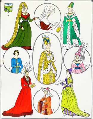 French Nobility costumes. Middle Ages costume history. 12th to 15th century gothic costumes.