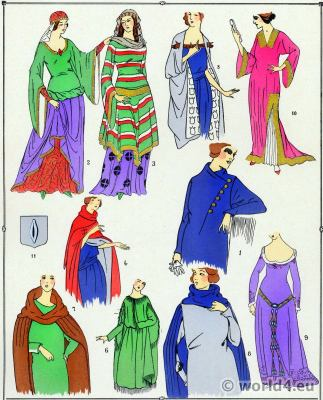 Middle Ages fashion, Nobility Costumes, 10th to 15th century.